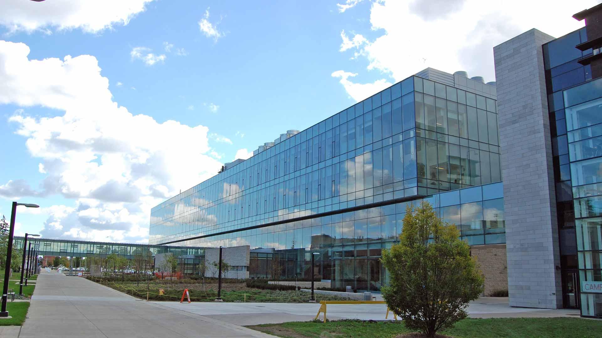 Glass building on Brock University campus