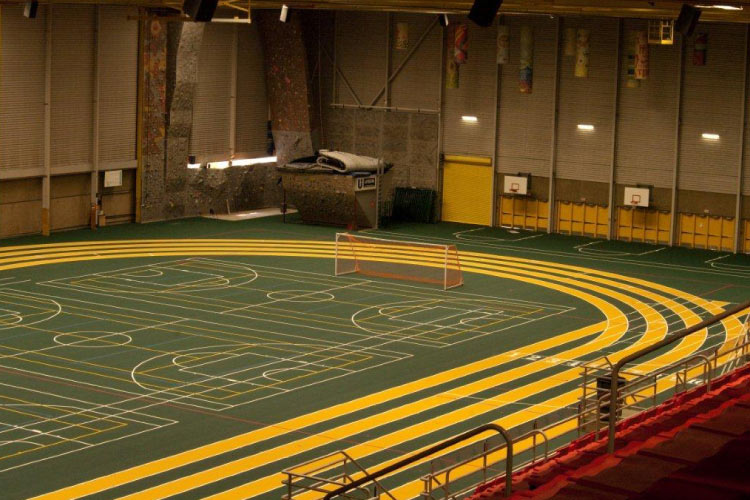 Indoor track in the Universiade Pavilion/Butterdome