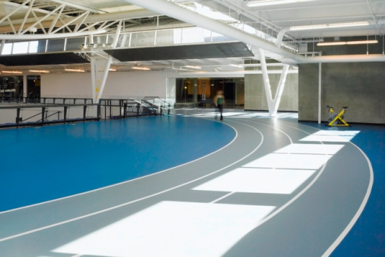 Indoor track in the 1st Choice Savings Centre for Sport and Wellness (photo courtesy of Barry Johns Architecture)