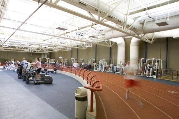 Indoor track in the Jack Simpson Gym (photo courtesy of University of Calgary Athletics)