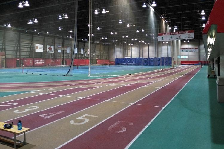 track field indoor rouge or athletisme interieur