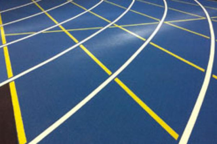 Mondo indoor track surface in the Varsity Blues Field House
